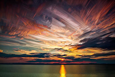 Line Movement Wall Art - Photograph - Colourful Cloud Collision by Matt Molloy