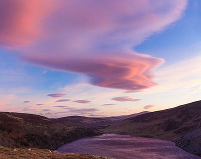 Colourful Clouds Over Lough Tay In Wicklow Art Print by Semmick Photo