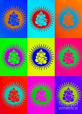Colourful Ganesha Print by Tim Gainey