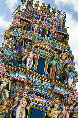 Colourful Hindu Temple Gopuram Statues Art Print by Tim Gainey