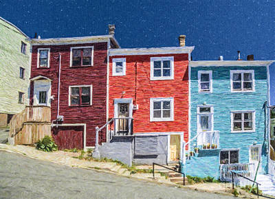 Digital Art - Colourful Houses St Johns Newfoundland by Liz Leyden