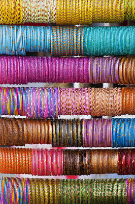 Bracelet Photograph - Colourful Indian Bangles by Tim Gainey