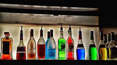 Colourful Liquors On A Bar Rack Art Print by Eti Reid