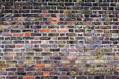 Weather Beaten Photograph - Colourful London Brick Wall by Tim Gainey