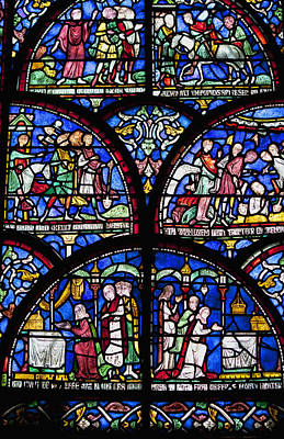 Colourful Stained Glass Window In Art Print