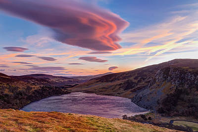 Colourful Sunset Over Lough Tay In Wicklow Art Print by Semmick Photo