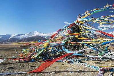 Fluttering Photograph - Colourful Tibetan Prayer Flags _lung by Sergey Orlov