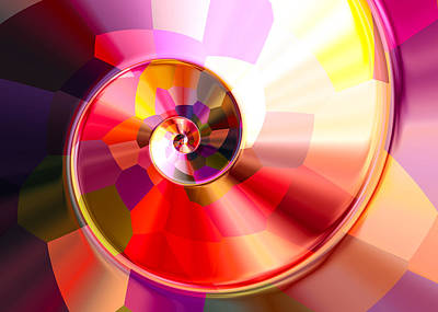 Colourful Tiled Spiral Art Print by Hakon Soreide