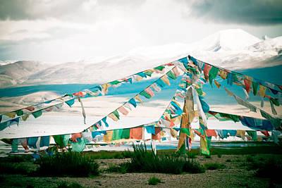 Colourfull Praying Buddhist Flags Lungta  Art Print by Raimond Klavins