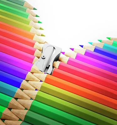 Bright Colours Photograph - Colouring Pencils And Sharpener by Andrzej Wojcicki