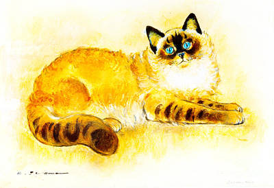 Colourpoint Cat Art Print by Kurt Tessmann