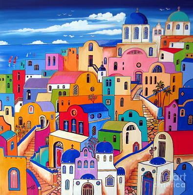 Colours In Santorini Art Print by Roberto Gagliardi