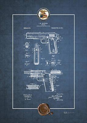 Digital Art - Colt 1911 By John M. Browning - Vintage Patent Blueprint by Serge Averbukh