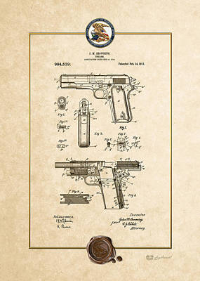 M1911a1 Digital Art - Colt 1911 By John M. Browning - Vintage Patent Document by Serge Averbukh