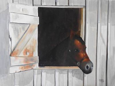 Painting - Colt At Barn Window by Maria Mills