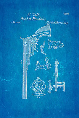 Colt Pistol Patent Art 2 1839 Blueprint Print by Ian Monk