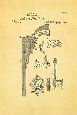 Colt Pistol Patent Art 2 1839 Print by Ian Monk