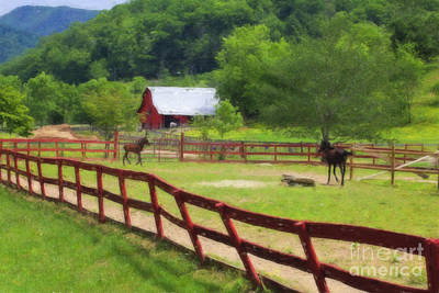 Digital Art - Colts Running At A Farm Watercolor by Jill Lang