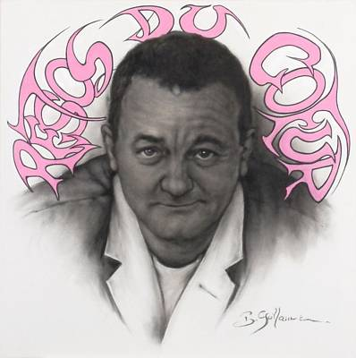 Sepia Chalk Mixed Media - Coluche by Guillaume Bruno