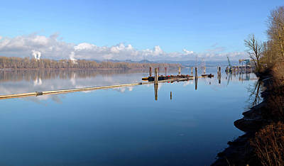 Machinery Photograph - Columbia River Dredging Work Docks by Panoramic Images