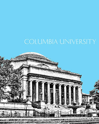 Pen Digital Art - Columbia University - Sky Blue by DB Artist