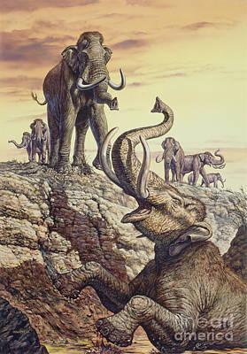 Elephants Digital Art - Columbian Mammoth Trapped In A Sinkhole by Mark Hallett