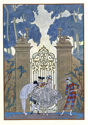 Female Clown Painting - Columbine by Georges Barbier
