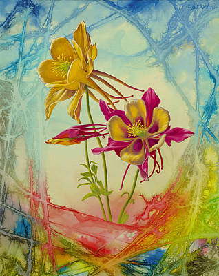 Abstracted Painting - 'columbine In Abstract 02'        by Paul Krapf