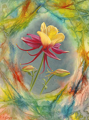 Abstract Flower Wall Art - Painting - 'columbine In Abstract' by Paul Krapf