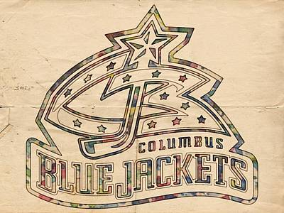 Athletes Painting - Columbus Blue Jackets Poster Art by Florian Rodarte