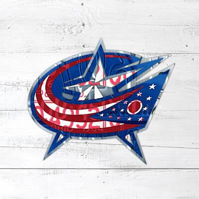 Hockey Mixed Media - Columbus Bluejackets Retro Hockey Team Logo Recycled Ohio License Plate Art by Design Turnpike