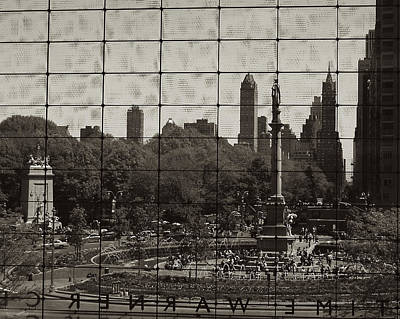 Columbus Circle Through The Time Warner Glass Window Art Print