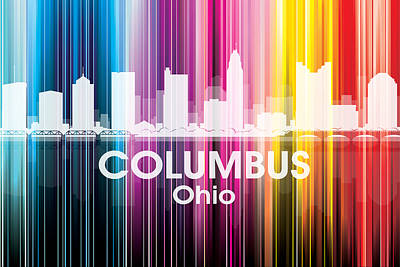Abstract Skyline Mixed Media - Columbus OH 2 by Angelina Tamez