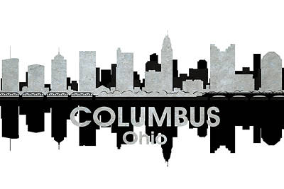 Abstract Skyline Mixed Media - Columbus OH 4 by Angelina Tamez