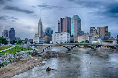 Photograph - Columbus Ohio Skyline Reflected In The Scioto River. Columbus I by Alex Grichenko
