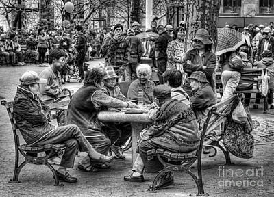 Photograph - Columbus Park Chinatown Nyc In Black And White by Jeff Breiman