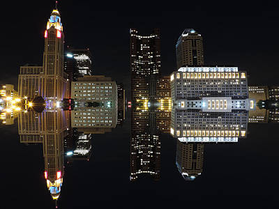 Western Art - Columbus Reflection at Night by Cityscape Photography