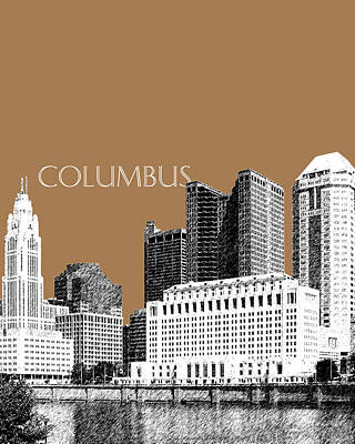 Columbus Skyline - Brown Art Print by DB Artist