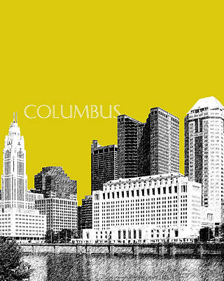 Pen Digital Art - Columbus Skyline - Mustard by DB Artist