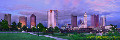Photograph - Columbus Skyline At Dusk Sunset Color Panorama Ohio by Jon Holiday