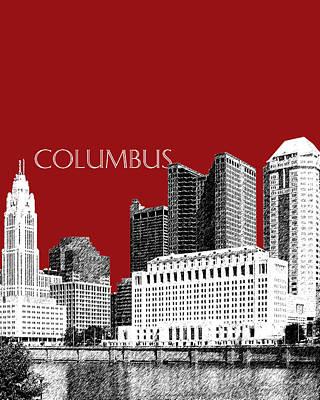 Digital Art - Columbus Skyline - Dark Red by DB Artist