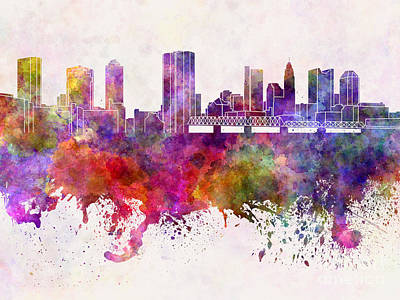 Ohio Painting - Columbus Skyline In Watercolor Background by Pablo Romero