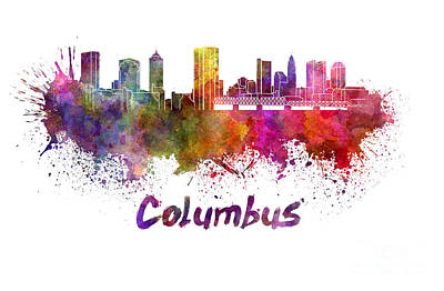 Ohio Painting - Columbus Skyline In Watercolor by Pablo Romero