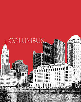 Columbus Skyline - Red Art Print by DB Artist