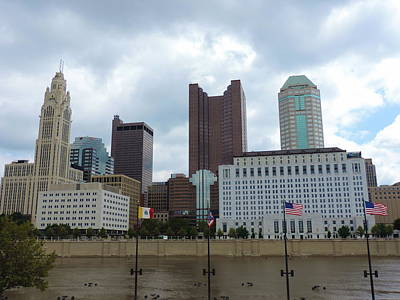 Columbus Skyline With Flags Art Print by Cityscape Photography