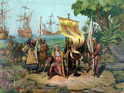 Columbus Taking Possession Of The New Country Art Print by War Is Hell Store