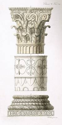 Classic Study Drawing - Column And Capital by English School