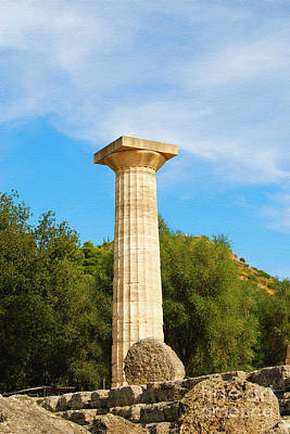 Digital Art - Column At The Temple Of Hera Olympia Greece by Eva Kaufman