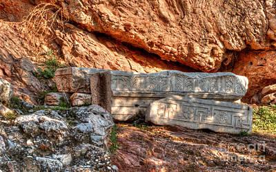 Photograph - Column Parts At The Acropolis by Deborah Smolinske