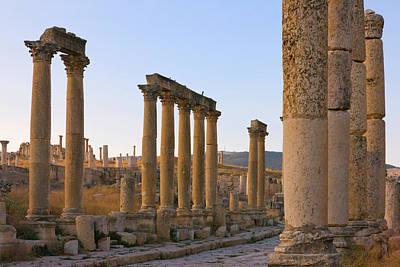 Jordan Photograph - Column Street In Ancient Jerash Ruins by Keren Su